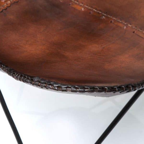 Vlinderstoel bruin eco detail