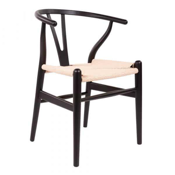 wishbone y-stoel zwart naturel