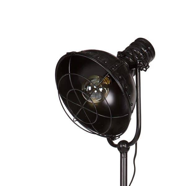 Details zwarte spotlight staande lamp